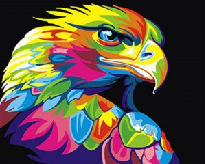 Abstract Oil painting of eagle